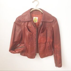Vintage Leather Jacket Oxblood Biker Moto Cropped
